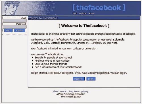 Facebook eski görünüm 2004