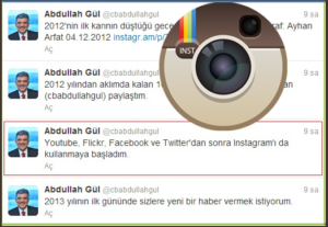 Abdullah Gül Instagram Kullanmaya başladığını Twitter Üzerinden duyurdu.