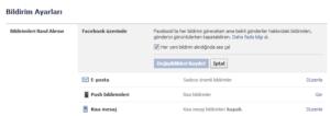 facebook ayarlar sesli bildirim seçeneği
