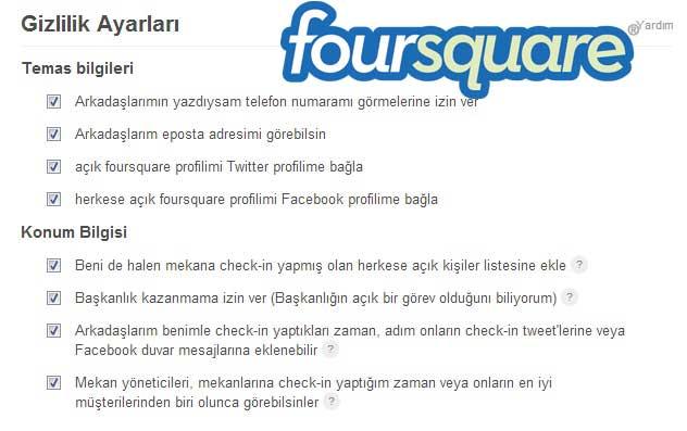 Foursquare Gizlilik Seçenekleri