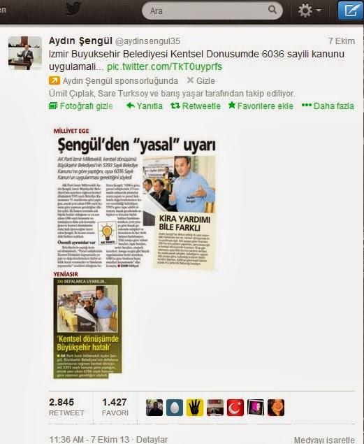 İzmir Milletvekili Aydın Şengül Twitter Reklamı