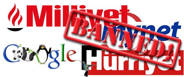 Milliyet.com.tr Hürriyet Mynet ve Radikal Google Banladı