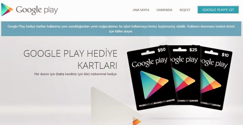 Google Play Hediye Kartı nerede satilir satın alınır nasıl kullanılır