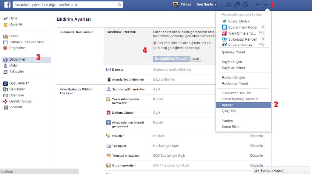 Facebook Bildirim  Sesi Ayarları açma kapatma