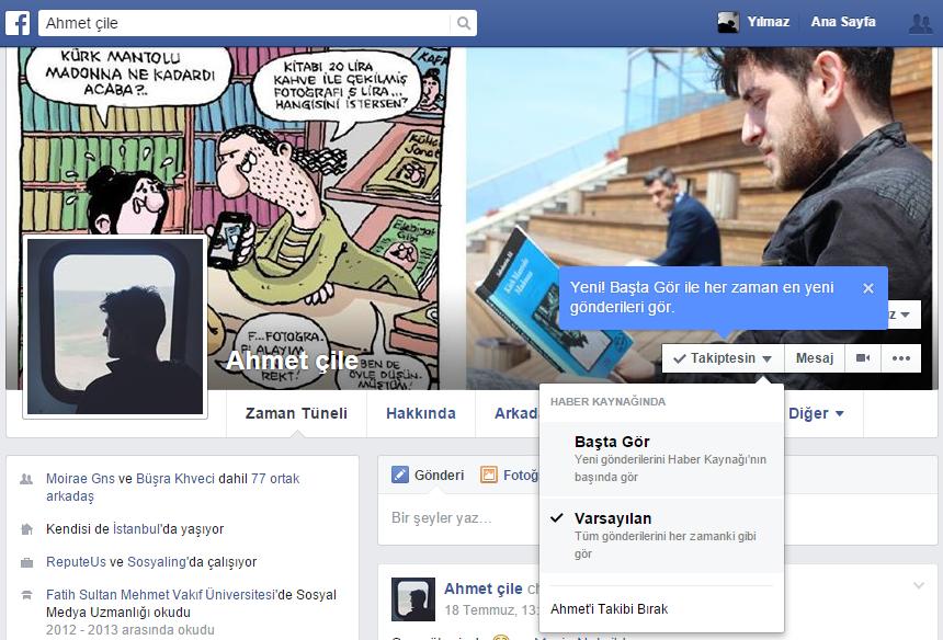Facebook Takip Başta Gör