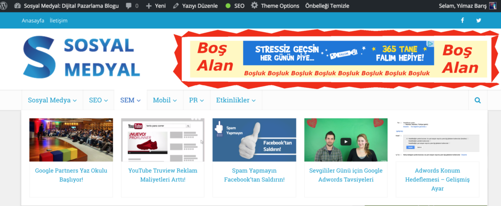 Adwords reklam boyut alternatifleri