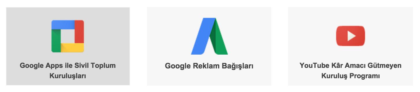 Google Sivil Toplum Kuruluşlar Ücretsiz Hizmetler