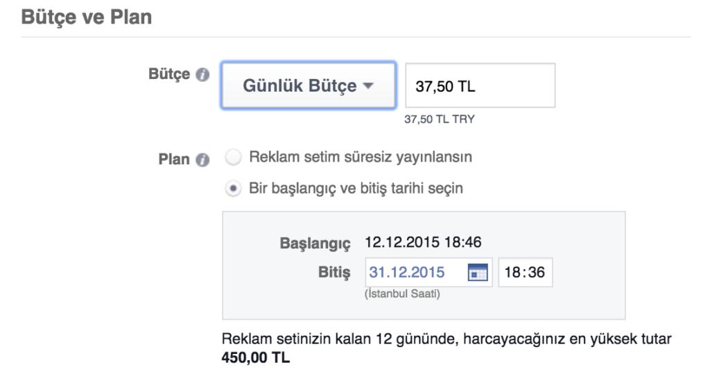Facebook Reklam Seti Günlük Bütçe