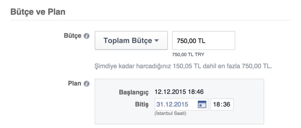 Facebook Reklam Seti Toplam Bütçe