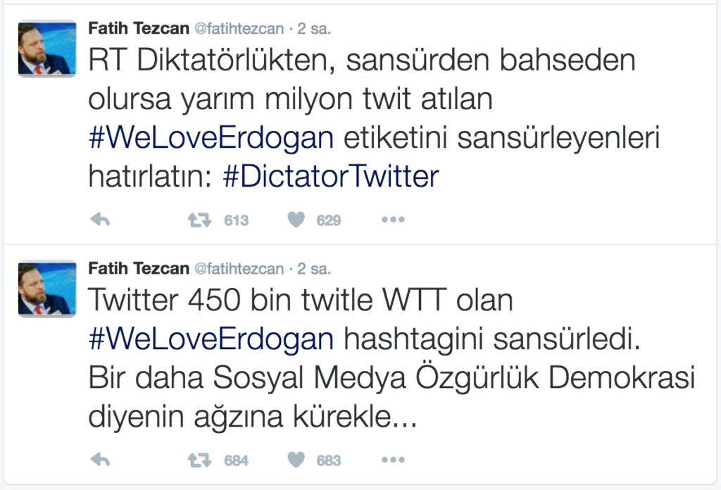 WeLoveErdogan Twitter Sansür Erdoğan