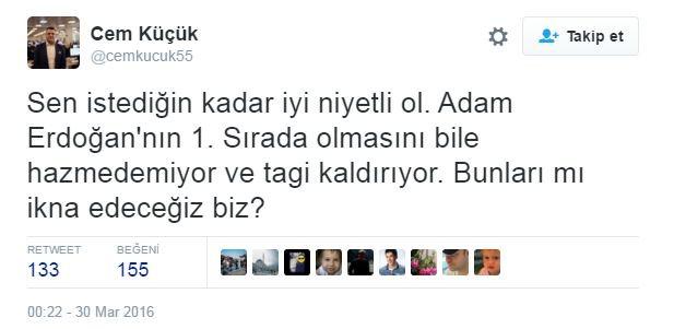 WeLoveErdogan Twitter Sansür Erdoğan cem küçük