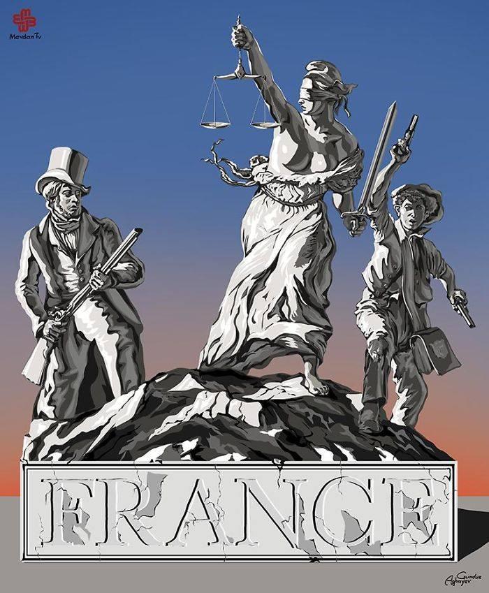 İllüstratör Adalet ve Fransa by Gündüz Agayev