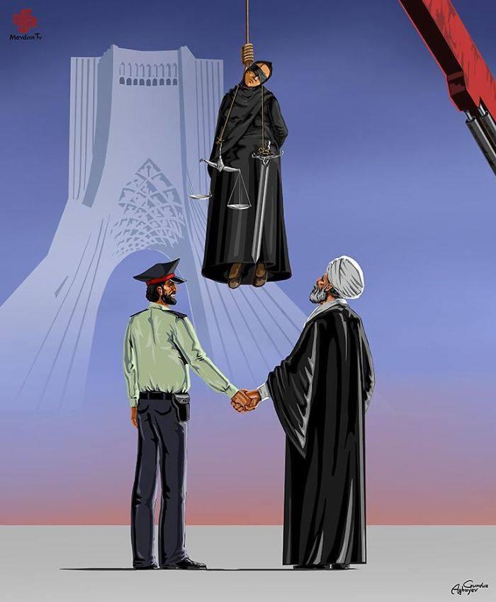 İllüstratör Adalet ve İran İdam by Gündüz Agayev