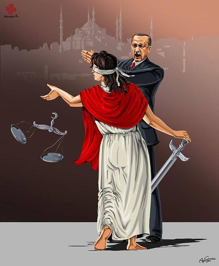 İllüstratör Adalet ve Türkiye Tayyip Erdoğan by Gündüz Agayev