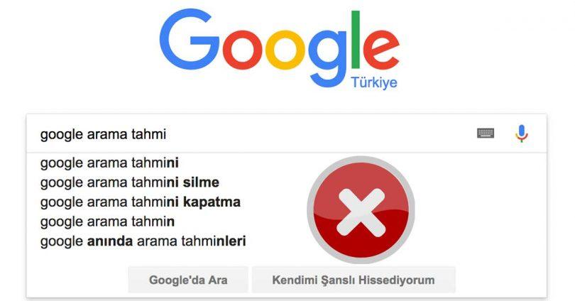Google Arama Tahmini Silme Kaldırma Otomatik Tamamlama