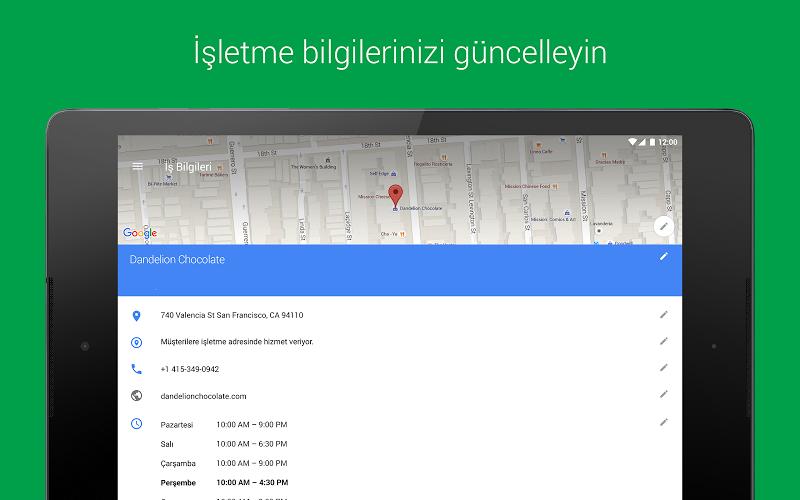 Google My Business Andorid Uygulaması işletme bilgileri